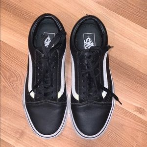 Vans black leather sneakers size 8